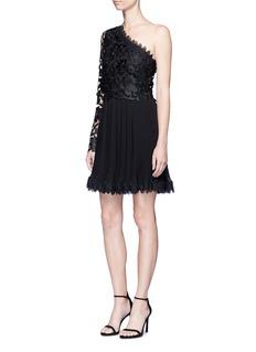 NicholasBotanical lace one shoulder pleated mini dress