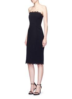 NicholasDetachable sleeve lace trim textured off-shoulder dress