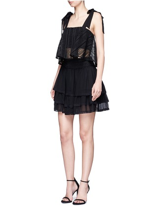 Figure View - Click To Enlarge - Nicholas - Guipure lace crépon tiered mini skirt