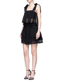 NicholasGuipure lace crépon tiered mini skirt