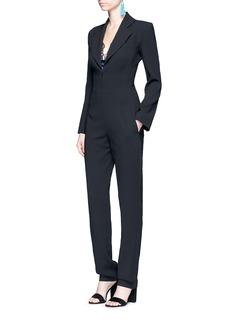 NicholasBelted crepe tuxedo jumpsuit