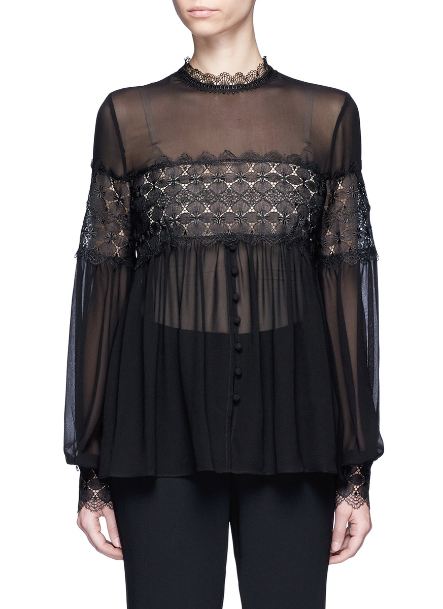 Floral lace panel balloon sleeve silk shirt by Nicholas