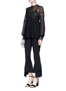 NicholasFloral lace panel balloon sleeve silk shirt