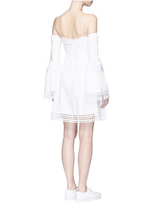 Back View - Click To Enlarge - Nicholas - Detachable ruched sleeve floral crochet poplin dress