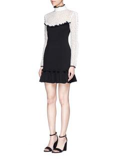 NicholasDaisy embroidered mesh shoulder ruffle dress