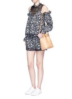 NicholasDaisy print crochet lace trim silk shorts