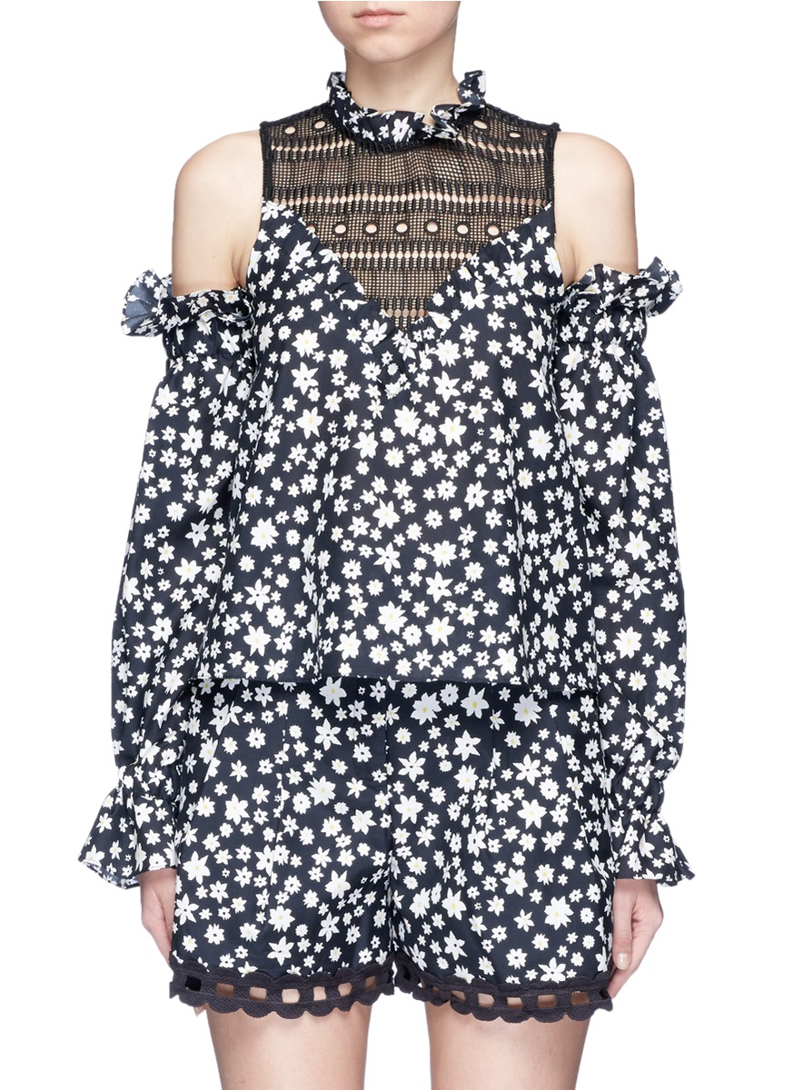 Daisy print balloon sleeve cold shoulder top by Nicholas