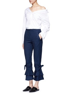 Nicholas Pinstripe flared cuff cotton pants