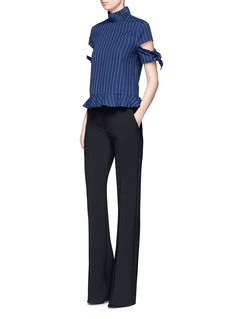Nicholas Knotted split sleeve pinstripe cotton top