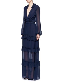 NicholasTiered ruffle silk georgette maxi skirt