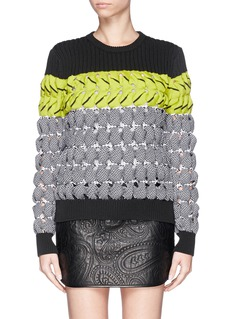 ALEXANDER WANG  Colourblock open knit sweater