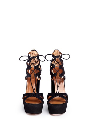 Front View - Click To Enlarge - Aquazzura - 'Beverly Hills' suede platform sandals