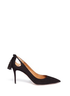 Aquazzura 'Forever Marilyn 85' tassel bow cutout suede pumps