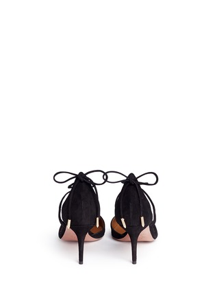 Back View - Click To Enlarge - Aquazzura - 'Matilde' lace-up tie back suede pumps