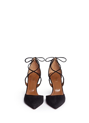 Front View - Click To Enlarge - Aquazzura - 'Matilde' lace-up tie back suede pumps