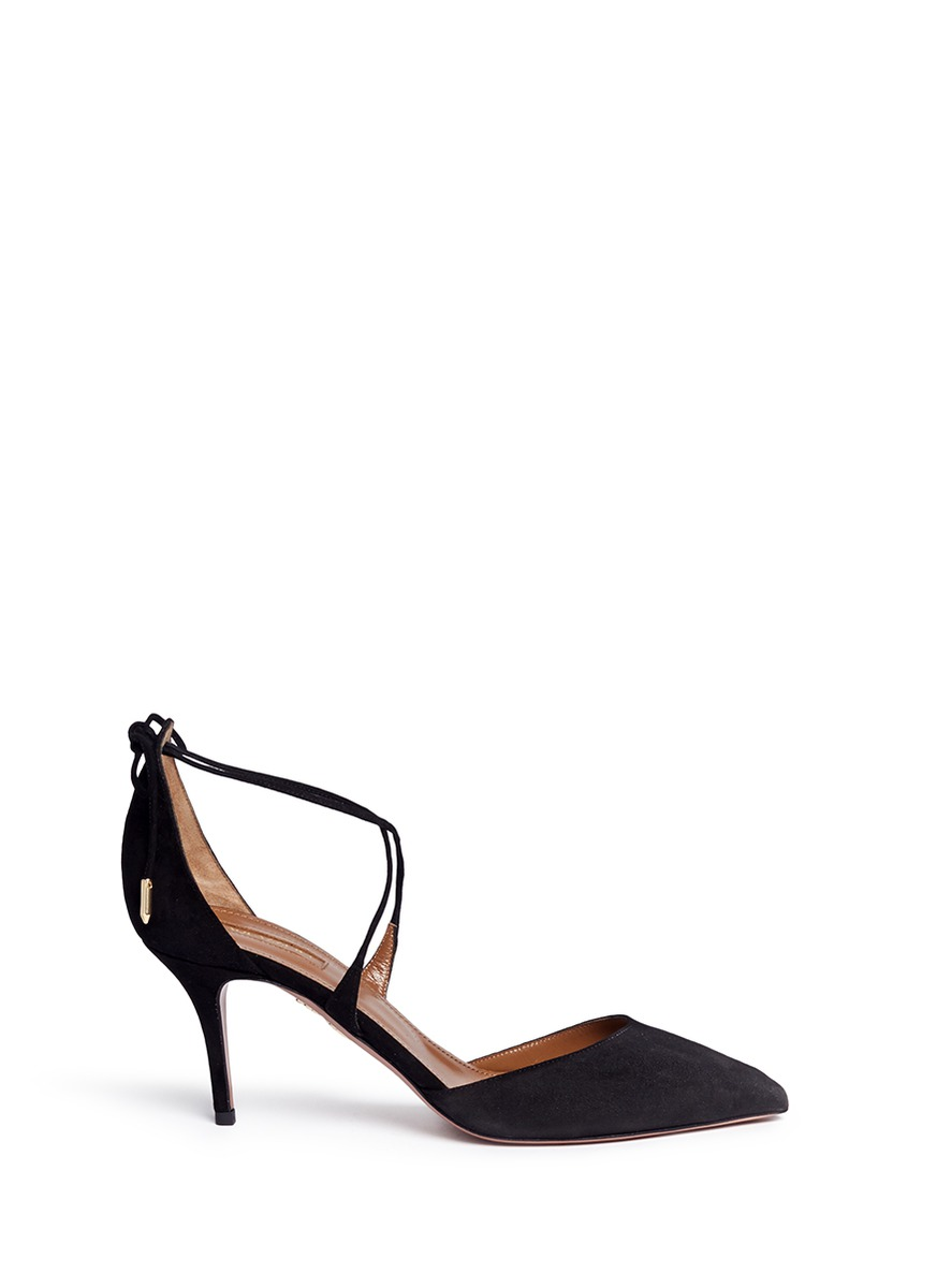 Matilde lace-up tie back suede pumps by Aquazzura