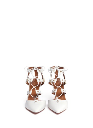 Front View - Click To Enlarge - Aquazzura - 'Bel Air 75' caged lace-up leather pumps