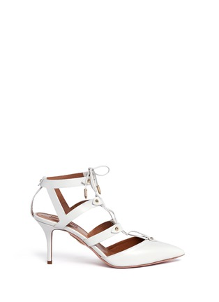 Main View - Click To Enlarge - Aquazzura - 'Bel Air 75' caged lace-up leather pumps