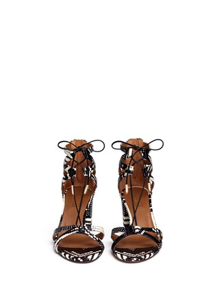 Front View - Click To Enlarge - Aquazzura - 'Beverly Hills 50' caged snakeskin leather sandals