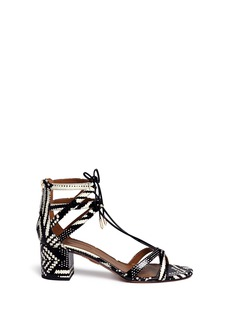 Aquazzura 'Beverly Hills 50' caged snakeskin leather sandals