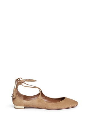 Main View - Click To Enlarge - Aquazzura - 'Boheme' lace-up back tie suede flats