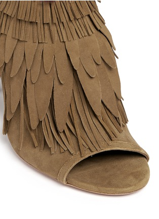 Detail View - Click To Enlarge - Aquazzura - 'Pocahontas' fringe feather suede peep toe sandals