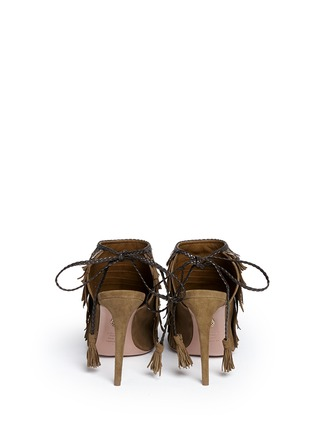 Back View - Click To Enlarge - Aquazzura - 'Pocahontas' fringe feather suede peep toe sandals