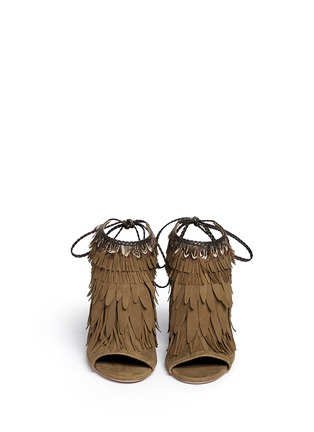 Front View - Click To Enlarge - Aquazzura - 'Pocahontas' fringe feather suede peep toe sandals