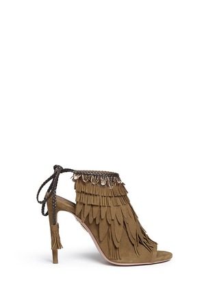 Main View - Click To Enlarge - Aquazzura - 'Pocahontas' fringe feather suede peep toe sandals