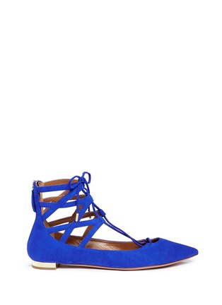 Main View - Click To Enlarge - Aquazzura - 'Belgravia' caged suede flats