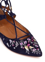 'Belgravia' floral embroidery caged suede flats