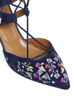 'Belgravia' floral embroidery caged suede pumps
