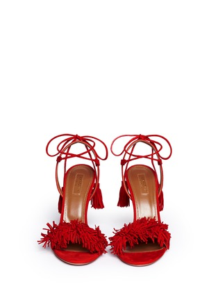 Front View - Click To Enlarge - Aquazzura - 'Wild Thing' fringe suede sandals