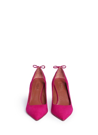 Front View - Click To Enlarge - Aquazzura - 'Forever Marilyn 85' tassel bow cutout suede pumps