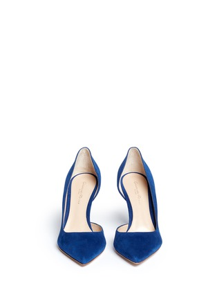 Front View - Click To Enlarge - Gianvito Rossi - 'Biba Mid' suede d'Orsay pumps