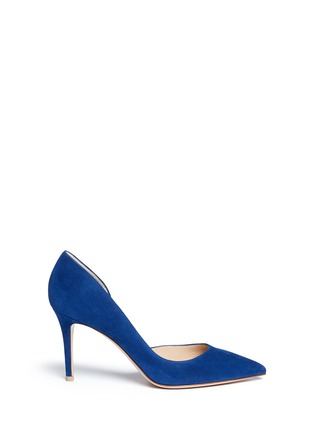 Main View - Click To Enlarge - Gianvito Rossi - 'Biba Mid' suede d'Orsay pumps