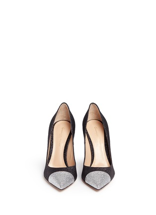 Front View - Click To Enlarge - Gianvito Rossi - 'Allie' metallic toe glitter pumps
