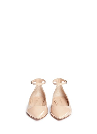 Front View - Click To Enlarge - Gianvito Rossi - 'Gia' ankle strap patent leather skimmer flats