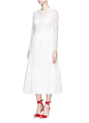 Figure View - Click To Enlarge - Dolce & Gabbana - Dropped hem lace midi dress