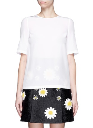 Main View - Click To Enlarge - Dolce & Gabbana - Daisy crystal button silk top