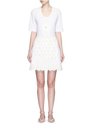 模特儿示范图 - 点击放大 - DOLCE & GABBANA - 花卉拼贴纯棉T恤