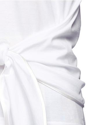 细节 - 点击放大 - DOLCE & GABBANA - 扭结衣摆棉混丝T恤