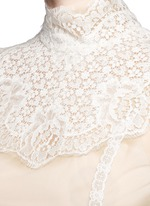 Lace insert high neck tulle top
