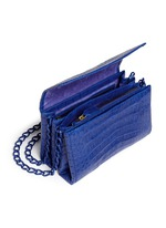 Crocodile leather flap shoulder bag
