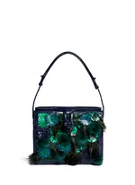 Flower mink pom-pom crocodile leather shoulder bag