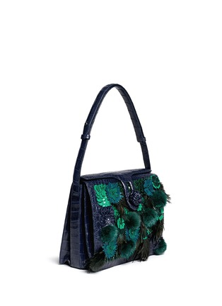 Nancy Gonzalez - Flower mink pom-pom crocodile leather shoulder bag