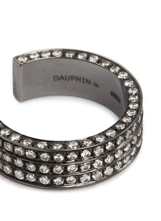 Detail View - Click To Enlarge - Dauphin - Diamond black rhodium plated 18k white gold three tier open ring
