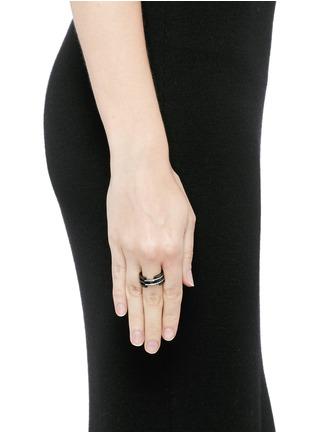 Dauphin-Diamond black rhodium plated 18k white gold five tier ring