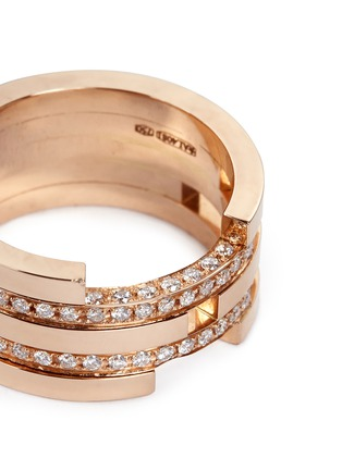 Dauphin - Diamond 18k rose gold five tier cutout ring