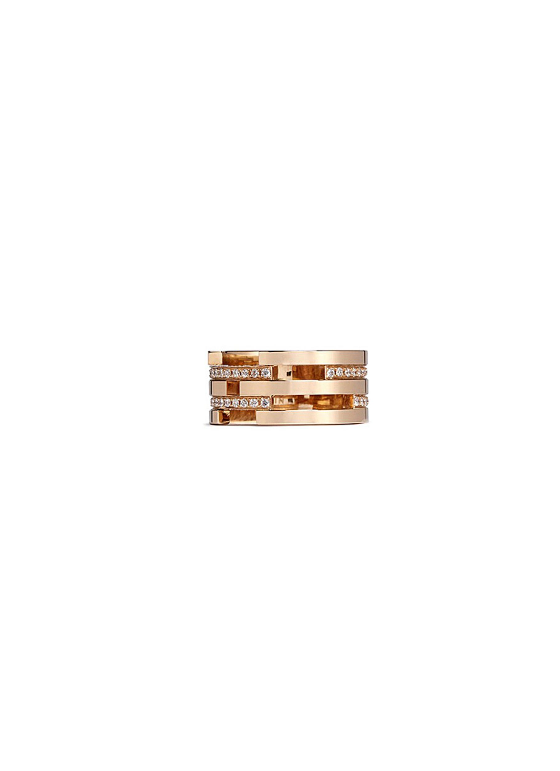 Diamond 18k rose gold five tier cutout ring by Dauphin